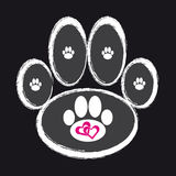 Dog paw on black background. Dog paw with hearts on black background. Vector illustration Royalty Free Stock Image