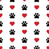 Dog Paw Cat Paw heart love puppy foot print kitten valentine vector Seamless Pattern. Wallpaper background stock illustration