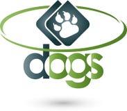 Dog paw and circle, dog and animal keeper logo stock illustration