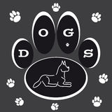 Dog paw with dog silhouette on grey background. Vector illustration Stock Photo