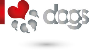 Dog paw and heart, dogs and keeper logo Stock Photography