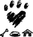 Dog Paw and Icon Stock Image