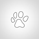 Dog paw icon in flat design Stock Images