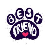 Dog paw with lettering text Best Friend and red heart. Vector label.  Royalty Free Stock Photo