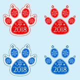 Dog Paw of New Year 2018 Stock Image