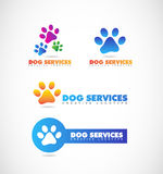 Dog paw pet shop logo. Vector company logo icon element template paw 3d pet shop dog set colors Royalty Free Stock Photo