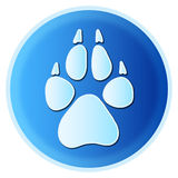 Dog paw print. Vector animal (canine - dog, wolf, fox...) paw print in blue button circle isolated on white background - ideal for logo symbol or website icon