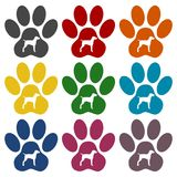 Dog Paw Print icons set. Dog Paw Print icon, vector icon Stock Images