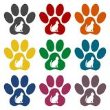 Dog Paw Print icons set. Vector icon Royalty Free Stock Photo