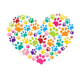 Dog paw print made of colorful heart vector Stock Images