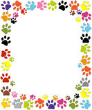 Dog paw print made of red heart vector illustration Stock Images