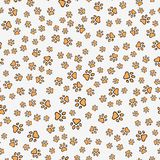 Dog paw print seamless pattern. On white background. Vector stock illustration Royalty Free Stock Images