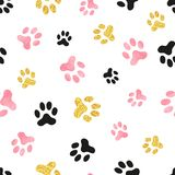 Dog paw print seamless pattern in pink, black and golden colors. Vector background Royalty Free Stock Images