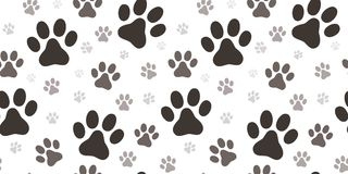 Dog paw print seamless pattern. On white background Stock Image