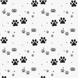 Dog paw print seamless pattern on white background. Eps 10 Royalty Free Stock Photos