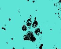 Dog paw print stamp. Stamp effect of a dog paw print in melting snow royalty free stock photography