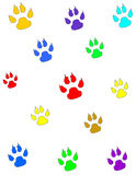 Dog Paw Prints. Colorful dog paw prints on white background Stock Photos