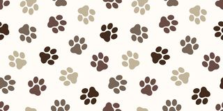 Dog Paw Seamless Pattern vector Cat paw foot print isolated wallpaper background backdrop brown