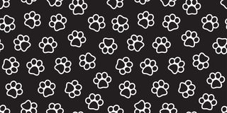 Dog Paw Seamless Pattern vector Cat paw footprint isolated wallpaper background black royalty free illustration