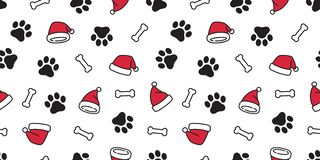 Dog paw seamless pattern vector Christmas Santa Claus Xmas hat french bulldog bone tile background cartoon scarf isolated repeat w. Allpaper illustration cute royalty free illustration