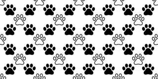 Dog Paw seamless pattern vector footprint heart valentine cat kitten puppy bear scarf isolated cartoon repeat wallpaper tile backg royalty free illustration