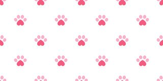 Dog Paw seamless pattern vector footprint heart valentine kitten puppy tile background repeat wallpaper isolated illustration pink. Cartoon stock illustration