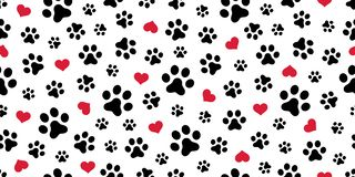 Free Dog Paw Seamless Pattern Vector Heart Isolated Scarf Valentine Wallpaper Background Royalty Free Stock Images - 125586299