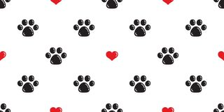 Dog Paw Seamless pattern vector heart valentine isolated Cat Paw footprint cartoon wallpaper background illustration. Dog Paw Seamless pattern vector heart stock illustration
