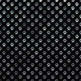 Dog Paw Silver Gray Metallic Foil Polka Dot Black Background Royalty Free Stock Image