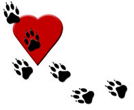Dog Paw Tracks on Heart Royalty Free Stock Photo