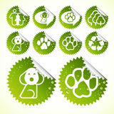 Dog and paws silhouettes in button set Royalty Free Stock Image