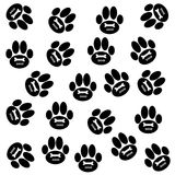 Dog paws on white background. Dog paws  with bone and text on white background. Vector illustration Royalty Free Stock Images