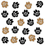Dog paws on white background. Brown and black dog paws  with bone and text on white background. Vector illustration Royalty Free Stock Images
