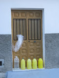 Dog Pee Prevention. Proven method for preventing dogs releving themselves on your doorstep. Alora Village, Andalusia Stock Photos