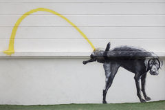 Dog pee on a  wall - (Painting). Dog pee on a wall - (Painting Stock Photography
