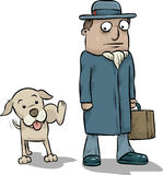 Dog Peeing on Businessman. A cartoon dog pees on the leg of a businessman Royalty Free Stock Photography