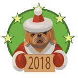 Dog Pekingese new year 2018. Dog Pekingese happy new 2018 year and wishes everybody a lot of true friends and good mood Royalty Free Stock Images