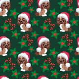 Dog Pekingese seamless pattern. Christmas seamless pattern with the image of little cute puppies in the hat of Santa Claus. Children`s vector background Stock Photo
