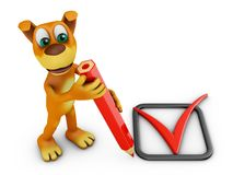 Dog with pencil and Check Mark. A dog with a red pencil and check mark. 3d rendering Royalty Free Stock Photo