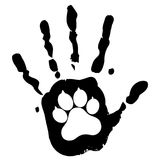 Dog pet animal paw care logo template, vector illustration concept for animal business services.  Royalty Free Stock Photo