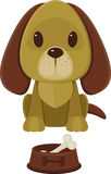 Dog and pet bowl with bone. Sitting cartoon dog and pet bowl with bone Royalty Free Stock Image