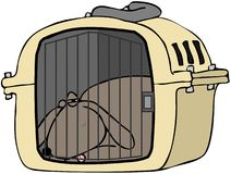 Dog In Pet Carrier Royalty Free Stock Photography