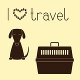 Dog and pet carrier Stock Photos