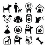 Dog, pet icons set - vet, dog's food, dog hotel Stock Photos