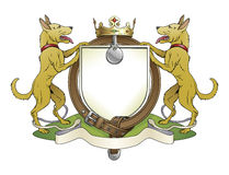 Dog pets heraldic shield coat of arms. Notice the collar instead of garter