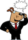 Dog Phone. A cartoon dog in a suit talking on a cell phone royalty free illustration