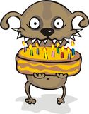 Dog with a pie. Congratulates You on birthday! Vector Stock Photography