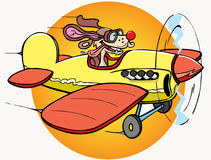 Dog is pilot. This is cartoon dog - pilot on airplane royalty free illustration