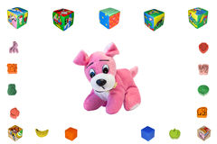 Dog pink. Toy baby soft Royalty Free Stock Photo