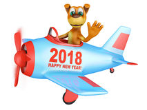 Dog in plane Happy New Year 2018. Dog waves his hand in the plane with the inscription Happy New Year 2018. 3D render vector illustration